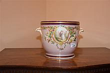 A French 19th century porcelain vase having floral decoration. Height 18cm,