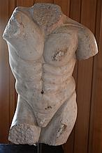 A superb quality Roman marble torso supported on plinth. 162cm, Width 60cm