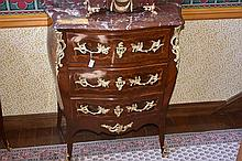 A superb French 19th century rosewood bombe shaped commode having floral ma