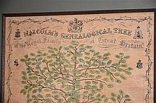 An antique framed Malcoms genealical tree of the Royal Family of Great Brit