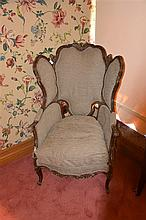 A superb quality 18th century walnut wing back bergere. Height 112cm, Width