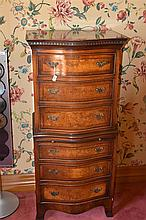A good English antique serpentine shaped six drawer chest on chest. Height