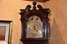 A truly magnificent English 19th century mahogany long case clock, the silv