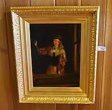 A finely detailed original 19th century oil on canvas depicting the lady by