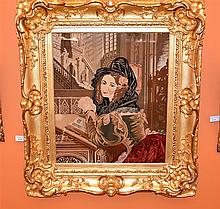 A rare Englsih 19th century hand woven tapestry depicting the noble lady re