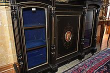 A finest quality French 19th century three door ebon credenza having gilt h