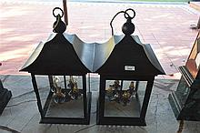 A pair of Decorative hanging lanterns. Height 58cm, Width 30cm
