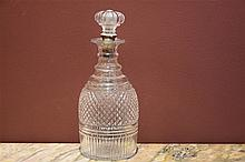 A good and rare English George III three ring decanter. Height 26cm, Width