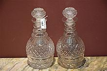 A rare pair of English George III three ring decanters
