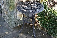 A small circular outdoor table.