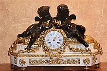 A most outstanding French 19th century salon clock depicting the bronze che