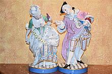 A fine pair of 19th century Dresden figures depicting the lady and gent in