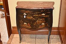 A rare French 19th century chinoiseree lacquered commode with marble top. H