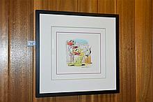 Bob Singer. A hand coloured original pen and ink depicting Top Cat with cer