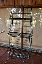 A pair of French 19th century wrought iron and brass bakers stands. Height