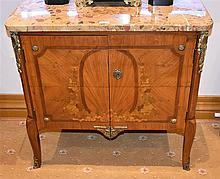 A good French 19th century two door salon cabinet having fine marquetry inl