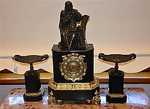 A superb French 19th century three piece bronze and marble clock set having
