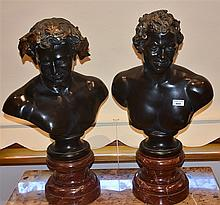 A superb pair of French 19th century spelter busts depicting the classical