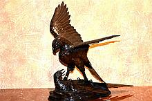 A fine Japanese 19th century bronze figure of the eagle. Height 41cm, Width