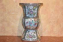 A fine tall Chinese porcelain shaped vase with hand painted panels of figur