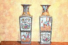 A fine and rare pair of Chinese 19th century porcelain vases having hand pa