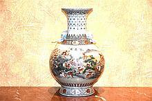 A good Chinese porcelain vase with deer in landscape decoration, signed. He