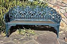An outstanding quality Antique Coalbrookdale Garden Settee with floral and