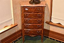 A good French 19th century serpentine shaped kingwood commode having floral