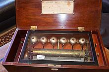 A large 19th century rosewood cased music box having six bells. Height 21cm