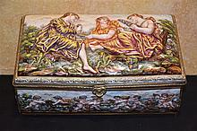 A good 19th century Dresden jewell casket with raised classical maiden deco