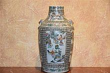 A fine Chinese 19th century porcelain vase having nine hand painted panels