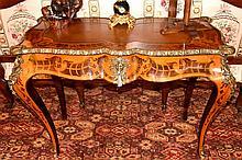 A finest quality French 19th century satinwood bureau plat having multi tim