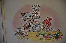 Bob Singer. A hand coloured pen and ink of Bam Bam and Pebbles with certifi