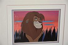 A rare Disney Cell depicting the Lion King with certificate from Silver Gal