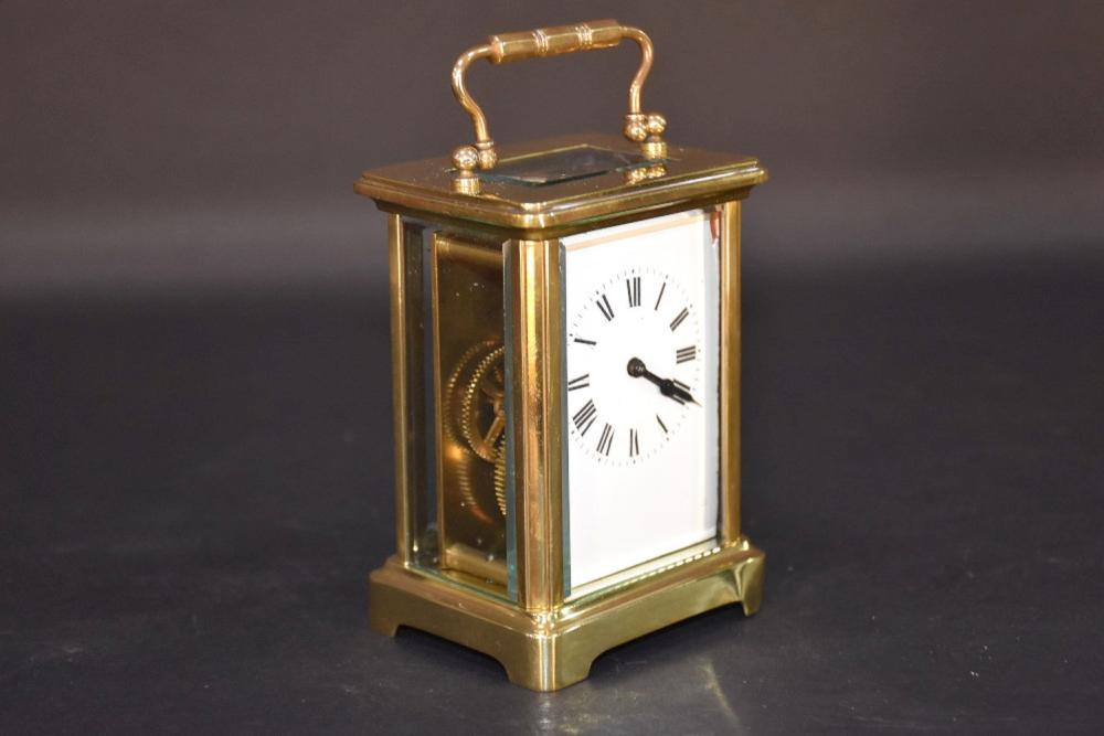 A French 19th century brass cased carriage clock h…