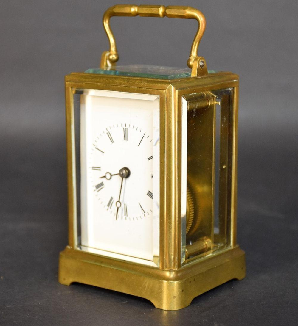 A 19th century brass cased carriage clock having a…