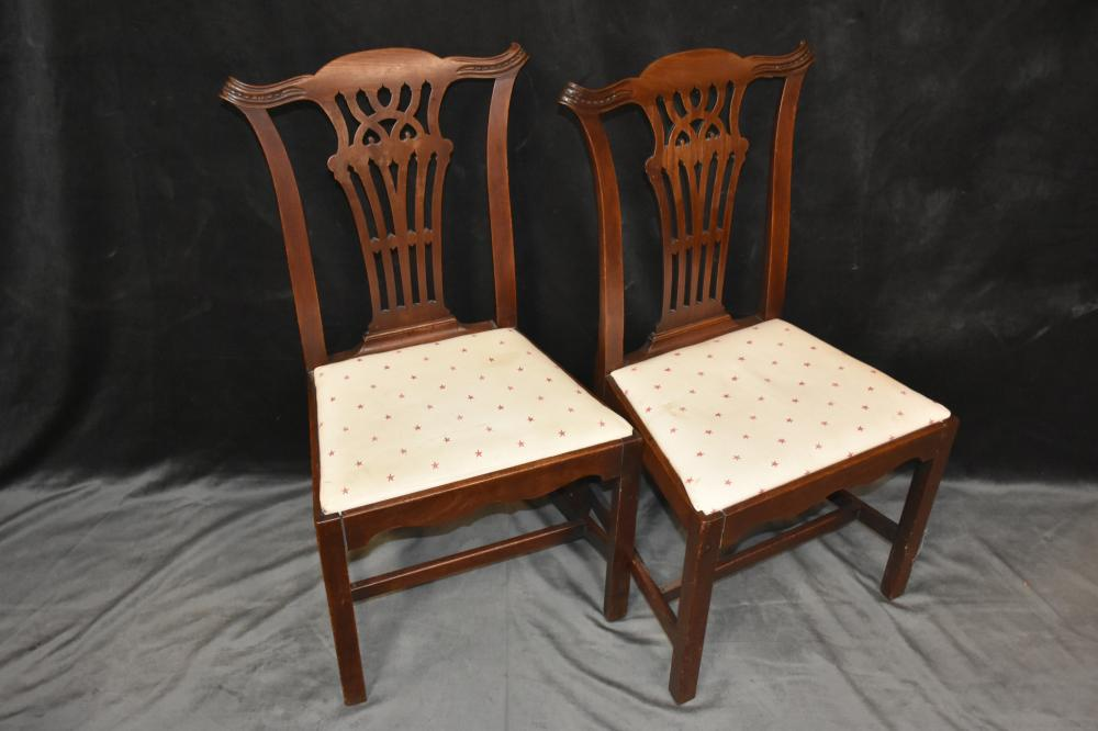 A Good Pair Of English George III Mahogany Occasional Chairs With Carved  Back. Height 100cm