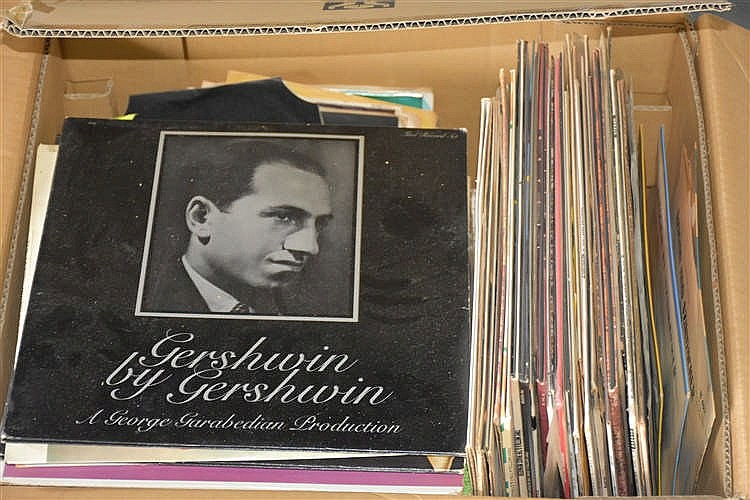 A box of old records for Classic house records