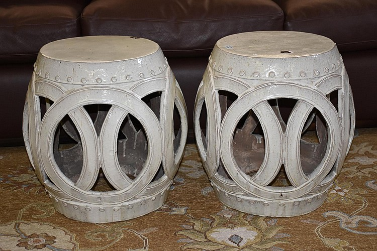 A pair of Chinese porcelain drum stools. Height 50cm, Width 48cm