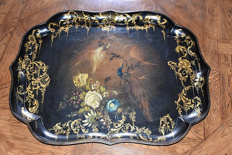 A French 19th century hand painted paper mache tray having peacock and gilt decoration. Height 4cm, Width 80cm