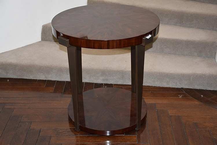 A lovely French two tier rosewood veneer occasional table having bronze supports. Height 70cm, Width 70cm