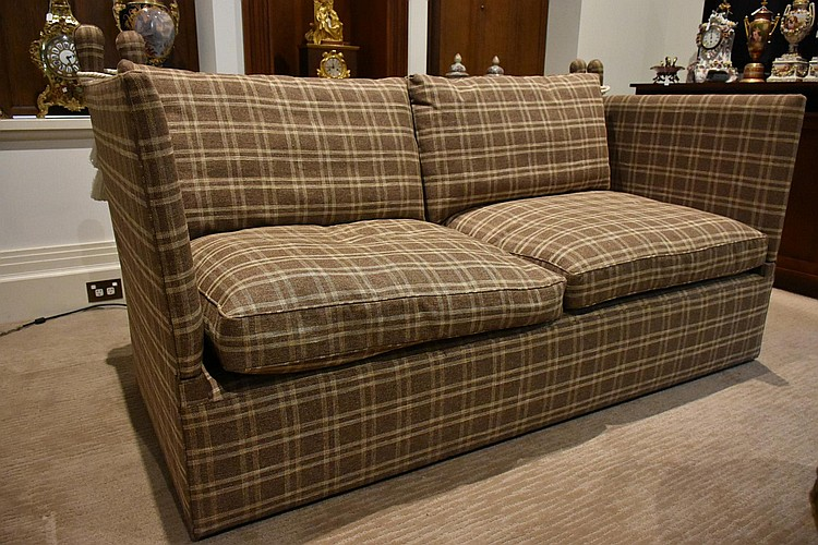 A good pair of two seater knoll settee with check fabric upholstery. Height 107cm, Width 220cm