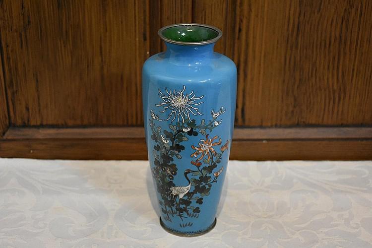 A Japanese 19th century light blue cloisonné vase having stork and floral decoration. Height 22cm, Width 9cm
