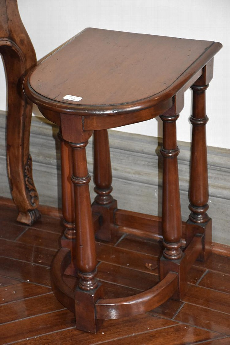 A single demi lune occasional table. Height 62cm, Width 36cm