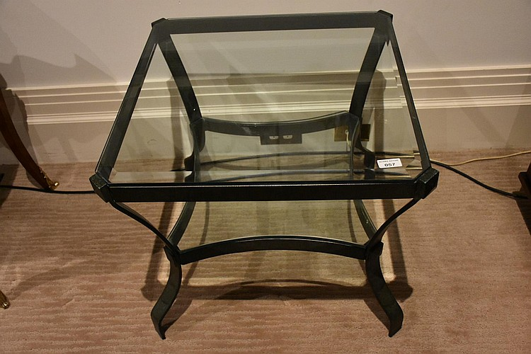 A modern wrought iron two tier coffee table having glass inlay. Height 54cm, Width 62cm