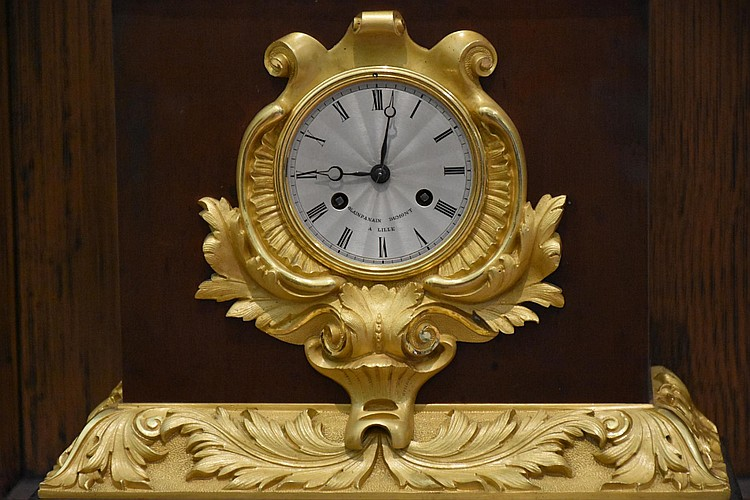 A superb French 19th century bronze and gilt bronze mantel clock having maiden mount, signed to the silvered dial Dumont. Height 63cm, Width 36cm