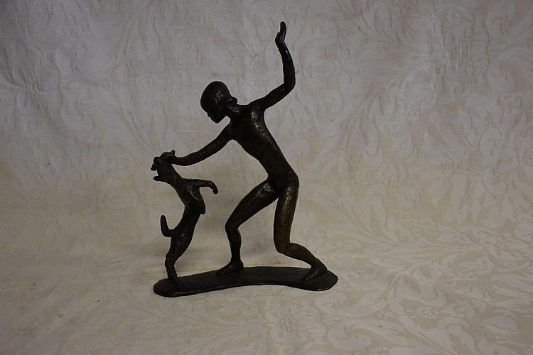 Guy Boyd, A rare original bronze figure depicting the young girl playing with the dog. Height 33cm, Width 25cm.