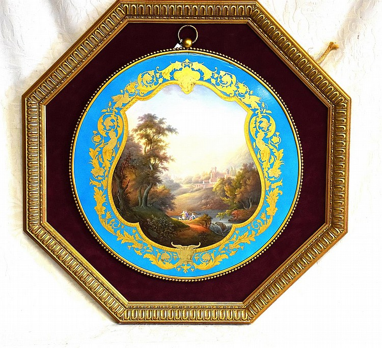 An exceptional large French 19th century Sevres panel having hand painted panel of figures in landscape with gilt highlights.