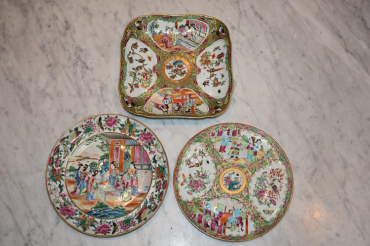 A set of three Cantonese 19th century plates having all over hand painted bird and floral decoration. One having some repair Height 4cm, Width 24cm