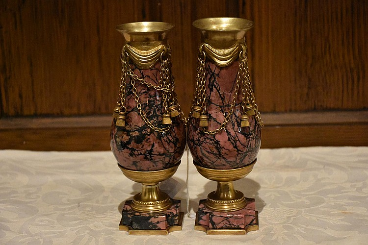 A unique pair of French 19th century marble ewers having ormolu mount and tassel decoration. Height 19cm, Width 6cm